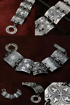 Oh very nice! Silver metal clay bracelet/ I have one like this and I LOVE it! Jewelry Crafts, Jewelry Art, Silver Jewelry, Handmade Jewelry, Jewelry Design, Jewlery, Earrings Handmade, Metal Clay Jewelry, Polymer Clay Jewelry