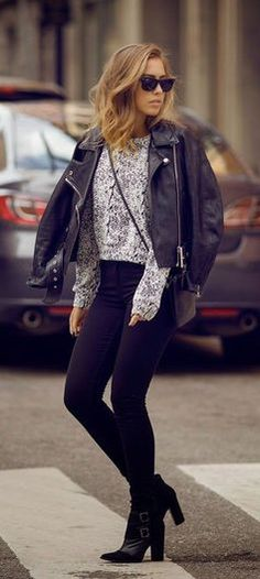 #winter #fashion / leather + print