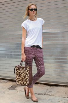 slouchy white muscle tee, printed capri pants, statement necklace and leopard shopper tote