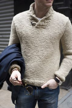 shawl collar sweater Alright, this sweater is just plain cool. Dressy w/o  being to much so, looks warm n comfy. A man you would want to snuggle up to.
