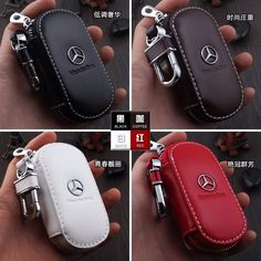 Cool Amazing Genuine Leather cowhide Car Key Holder Keychain Ring Case Bag For Mercedes-Benz 2018