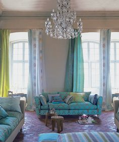 Love this room by Designers Guild, adore the way Tricia guild uses different panels for her curtains. Pretty blue and green...