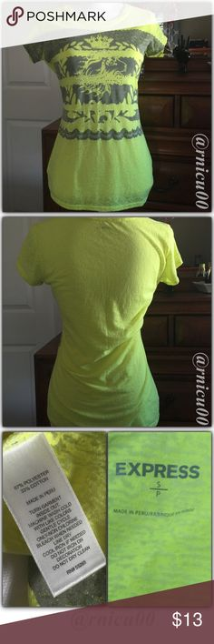 """Listing! Burnout Neon Express Tee! Round Neck, Neon Yellow, Short sleeve, Burnout Style Tee with Stud Detailing! Worn maybe once, Brand New, perfect Condition! —NOTE—I Handwash & Hang Dry/Lay Flat all my Nice Clothes!—  -These are my Pics of Actual Item! -Brand New Condition, No Tags -Mannequin measurements: C-34"""", W-26.7"""", H-35.4"""" -Please ask for Measurements  *NO TRADES *Prices are FIRM-Listed at Lowest Price Unless BUNDLED! *Sales are Final-Please Read Descriptions! Express Tops Tees…"""