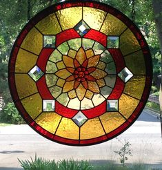 Lotus Flower...Padma...Round...Stained Glass Window Panel - Delphi Artist Gallery