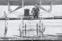 Cal Rodgers wets the landing gear in the Pacific Ocean of the Vin Fiz in Long Beach, California on December 1911 This was the first airplane to fly across America. Long Beach California, Wright Brothers, Sales Image, Photo Postcards, Pacific Ocean, Original Image, Worlds Largest, Pilot, Aviation