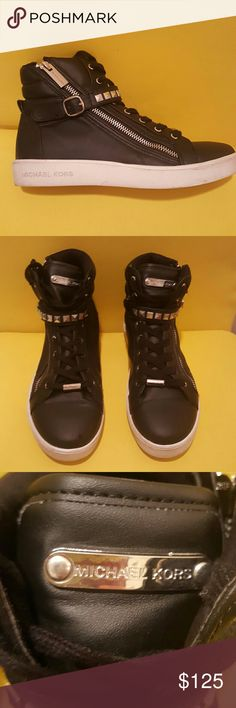 MICHAEL KORS hI-tops These amazing Michael Kors high tops are too cool for school. With zippered sides and a row of metal rivets strapping across the fronts, you will get tons of high fives for these. Michael Kors Shoes Sneakers