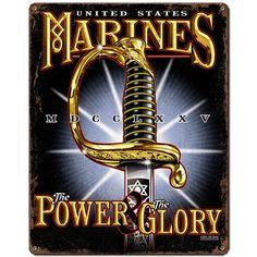 USMC 'Power & Glory' 7.62 Design Vintage Steel Sign