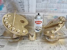 """DIY trophies. Could be fun for Mom Olympics. Imagine hot glued pacifiers, rattles, and various other """"mom tools"""" spray painted gold."""