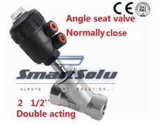 110.24$  Buy now - http://alipad.worldwells.pw/go.php?t=32479861222 - Free shipping actuator plastic angle seat valve DN65 2 1/2 inch normally close double acting high temperature ss304 body valve 110.24$