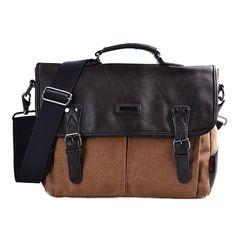 83868e05f92 Amazon.com  DGY Canvas Large Shoulder Laptop Bag Vintage Messenger Bag  Crossbody Bag for Men G00261 Black  Clothing