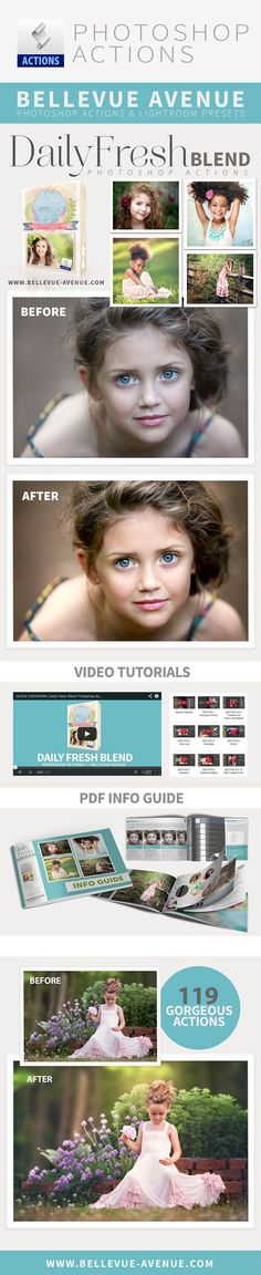 Bellevue Avenue   Daily Fresh Blend Photoshop Actions - 119 Gorgeous Actions built for efficiency, flexibility and beauty. Jam packed with hundreds of tools to explore your full, creative potential http://www.bellevue-avenue.com/daily-fresh-blend-photoshop-actions/