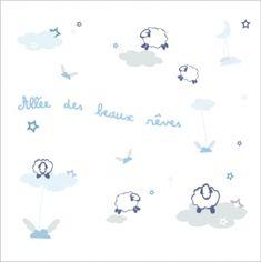 Stickers Allée des beaux rêves bleu et gris ciel