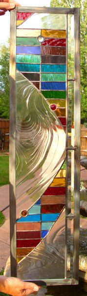 Stained Glass Window Rainbow Wave Panel by stainedglassfusion