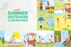 Summer Outdoor Illustrations Set   GraphicMama Yoga Illustration, People Illustration, Illustrations, Summer Activities, Outdoor Activities, Design Bundles, Presentation, Graphics, Graphic Design