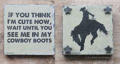 Little Cowboy Art Gift Set Baby Boy Cowboy Baby by bonnielecat, $58.00