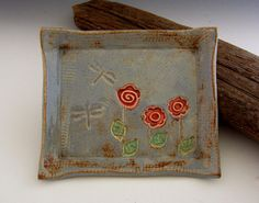 Pottery Soap Dish / Trinket Dish Flowers and by DirtKickerPottery, $25.00