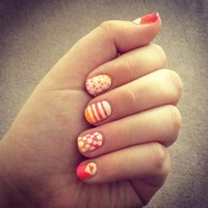 coral polka dots and stripes
