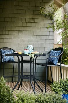 For a small balcony, try a bar-height set. The slim design and height maximize the space and the view.