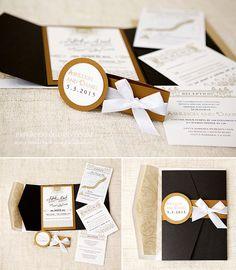 The Great Gatsby pocket Wedding Invitation Stationery Set