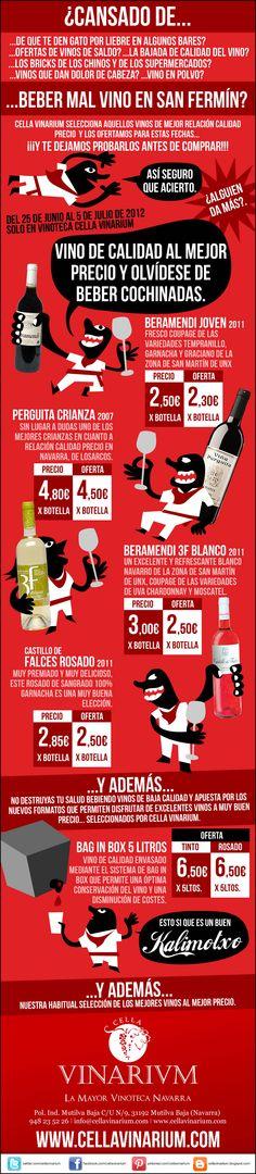 En Vinoteca Cella Vinarium ya tenemos preparado el mejor vino para San Fermín 2012... y además comprar probando, la mejor forma de comprar vino.