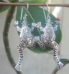 925 Sterling Silver-Balinese Hand Made Frog Earring Style Dangle  #balitradinghouse #DropDangle