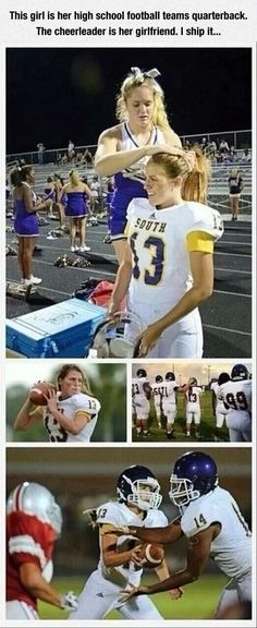 This girl is quarterback of her high school football team, and that cheerleader is her girlfriend.we've come a long way my people! Long way to go but this warms my heart. As a sports fan and an LGBT ally. Florida High School, Bubbline, Equal Rights, Faith In Humanity, Black Power, South Dakota, Gay Pride, Human Rights, Overwatch