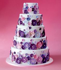 Five-Tier White Cake with Pink and Purple Flowers