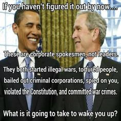 Left, Right, Dem, Repub, Lib, Conserv, same shiiii when it comes down to it… Government for Big Biz vs. Big Biz Government is the same Corporatism, Statism, NWO bs we've been systematically programmed to accept.