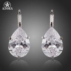 Pear Cut Clear Cubic Zirconia Water Drop Earrings