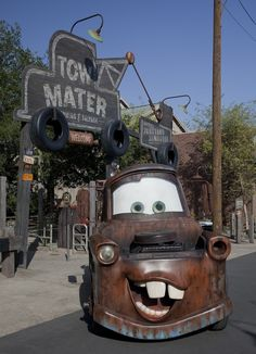 Tow Mater at the entrance to the Junkyard Jamboree attraction at . Walt Disney Co, Disney Love, Disney Parks, Disney Stuff, Disney Stores, Disney Pixar, Disneyland Paris, Disneyland Resort, Disney Cars Party