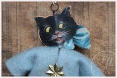 Nostalgischer Christbaumschmuck Wattefigur Katze Weihnachtsdekoration Spun cotton