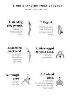 5 min morning yoga printable  morning yoga sequences