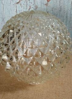 Vintage Diamond Point Pressed Glass Light Globe Mid-Century Mint #unknown #MidCentury