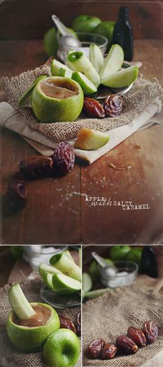 Talk about food porn, this gal's photography is stunning. Apple with salty medjool caramel. Healthy Treats, Healthy Desserts, Raw Food Recipes, Fast Recipes, Food Porn, Paleo, Tasty, Yummy Food, Delicious Recipes