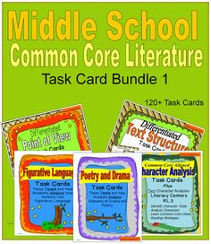This bundle of middle school literature task cards includes 120+ task cards that cover seven Common Core Literature Standards.  Questions are posed at different levels of Bloom's Taxonomy so that students analyze character traits, understand how text organization contributes to a text, determine the differences of points of view, and more.  The task cards contain short literature and informational text passages. $