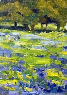 Texas Bluebonnets floral landscape, bluebonnet, original fine art, painting by artist Kit Hevron Mahoney