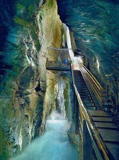 Liechtenstein Gorge or Liechtensteinklamm is a particularly narrow gorge with walls up to 300m high, located in the Austrian Alps 50km south of Salzburg.