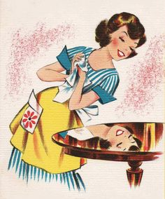 Finally have the time to dust! Vintage Prints, Vintage Posters, Retro Vintage, People Illustration, Retro Illustration, Nostalgia Art, Sweet Drawings, Vintage Housewife, Vintage Disneyland