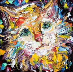 Original oil painting Cat Portrait abstract by Karensfineart