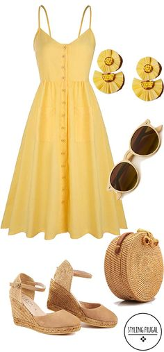 Affordable sundress for under 20 This yellow summer dress and straw purse are perfect for sunny days. Its affordable and adorable all at the same time. Yellow Sundress, Yellow Dress Summer, Sundress Outfit, Summer Dresses For Women, Dresses For Work, Dress Work, Summer Dress Outfits, Summer Clothes, Mode Outfits