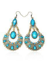 Bohemia Vintage Rhinestone Teardrop Earring Blue $14.99