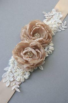 Wedding Sash Belt Bridal Sash Vintage Mocca by BelleBlooms on Etsy
