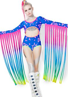 Mamadoux Fringed Rave Bodysuit iz ready to rage on anotha planet wit yew. Pull on this incredible made in the USA bodysuit, constructed from a supa soft 'n smooth material with fun hand painted 90's shapes that throw it WAAAY back while perfectly stretchin' to yer curves with a snug fit. Featurin' epic long rainbow fringes that hang from da long sleeves, sexXxy center 'n back cut-outs and neon trim.