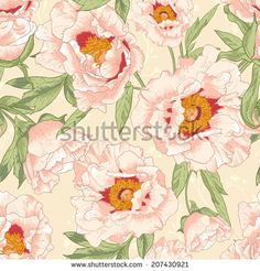 Beautiful tropical seamless vintage flower background
