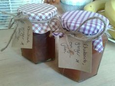 Rhubarb, ginger and orange jam homemade by me from my neighbours glut of rhubarb Marmalade Jam, Orange Jam, Preserves, Gift Wrapping, Homemade, Gift Ideas, Canning, Gifts, Food
