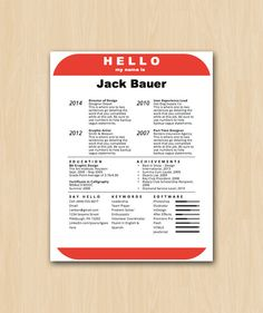 Items Similar To The Hello Nametag Resume Template