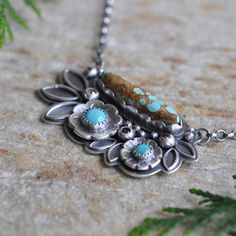 Turquoise Necklace in Oxidised Sterling Silver  by christinewalsh, $185.00