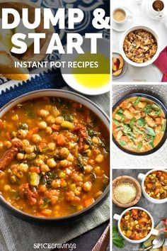 Here is a collection of easy Dump and Start one-pot recipes for the Instant Pot, stove or oven.    Simply add the ingredients and cook breakfast, dinner or dessert.  No mess, No-fuss recipes! #spicecravings #recipes #instantpot #breakfast #dinner #dessert
