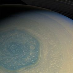 A New Look at Saturn's Northern Hexagon - Raw Cassini image captured on 26 Feb. 2013 (NASA/JPL/SSI) Freshly delivered from Cassini's wide-angle camera, this raw image gives us another look at Saturn's north pole and the curious hexagon-shaped jet stream that encircles it, as well as the spiraling vortex of clouds at its center. Back in November we got our first good look at Saturn's north pole in years, now that Cassini's orbit is once again taking it high over the ringplane.