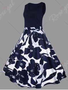 PURPLISH BLUE Plus Size Floral Printed Vintage Midi Flare Dress 5XL
